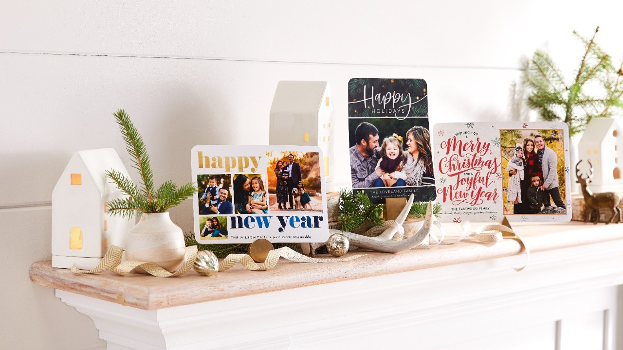 Holiday cards on a table.
