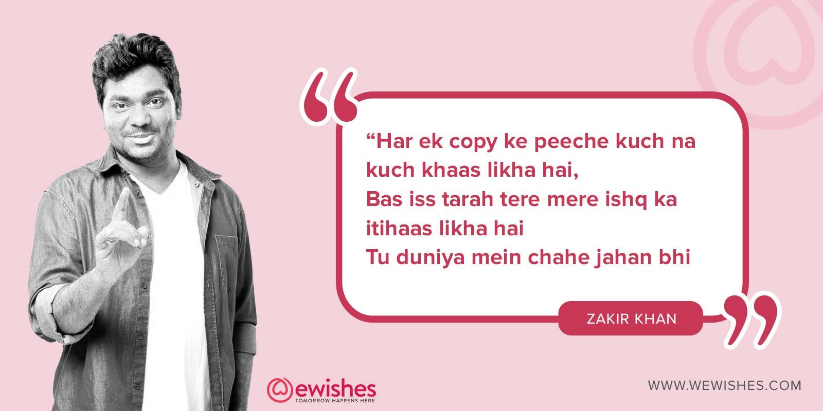 Zakir khan Shayari , love