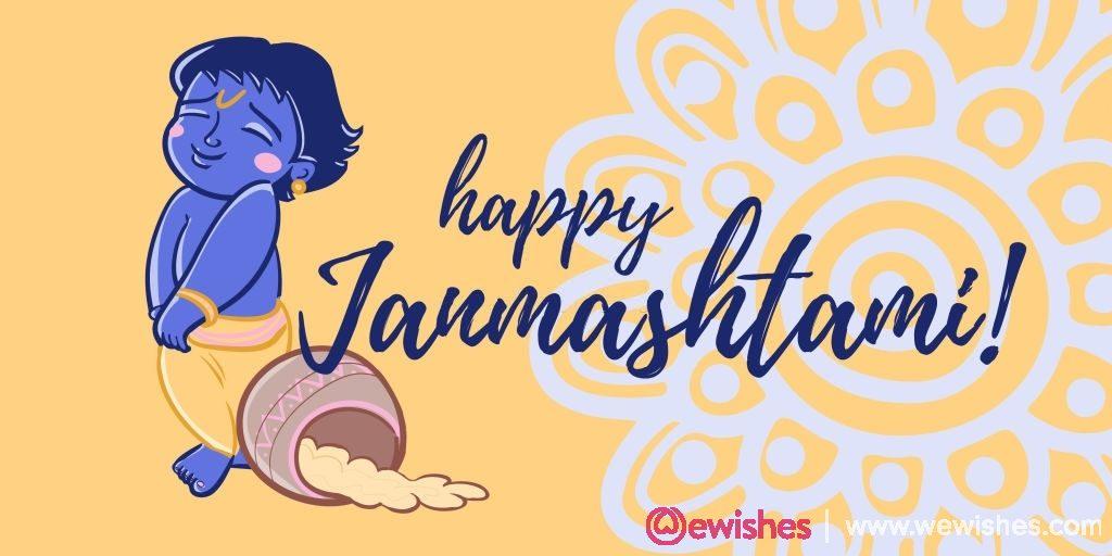 happy Janmashtami greeting card background