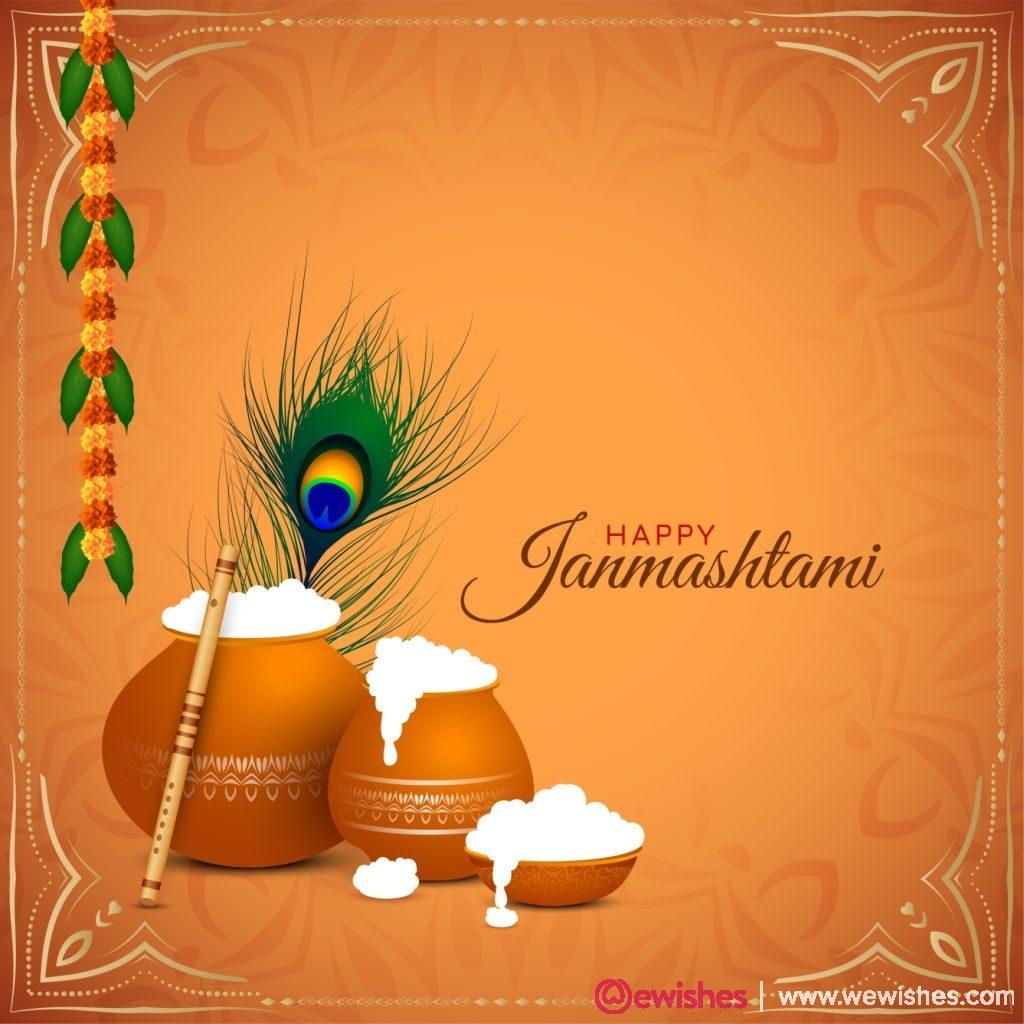 Religious Happy Janmashtami festival background