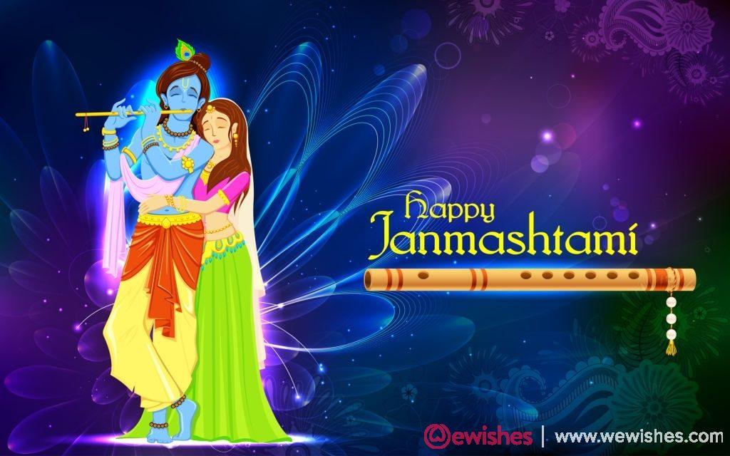 hindu goddess Radha and Lord Krishna on Janmashtami