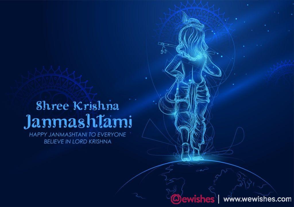 illustration of Lord Krishna in Happy Janmashtami