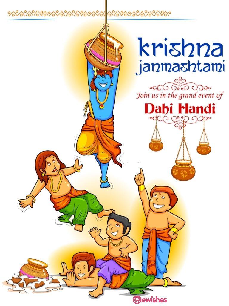 Happy Janmashtami festival background of India