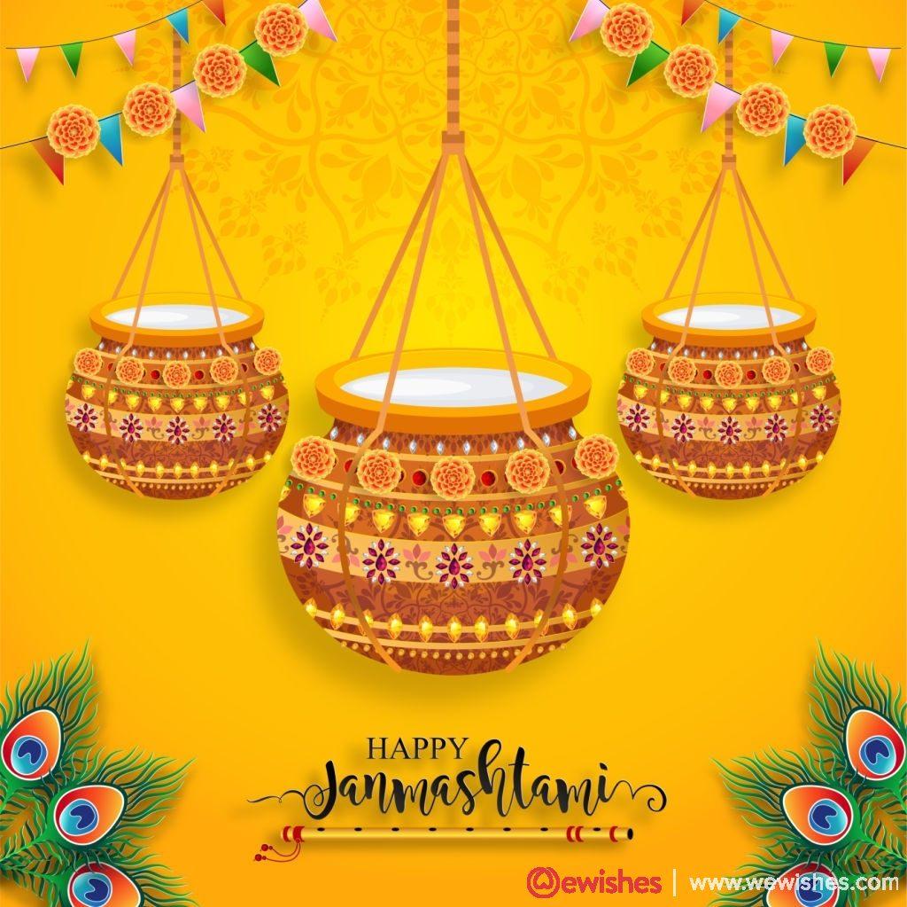 Happy Krishna Janmashtami festival card